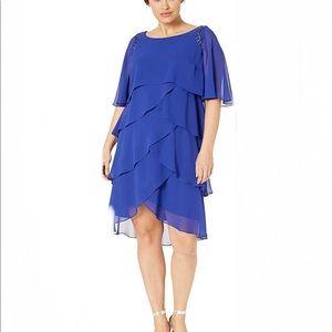 SLNY Sequin-Trimmed Capelet Dress, Royal Blue, 18W